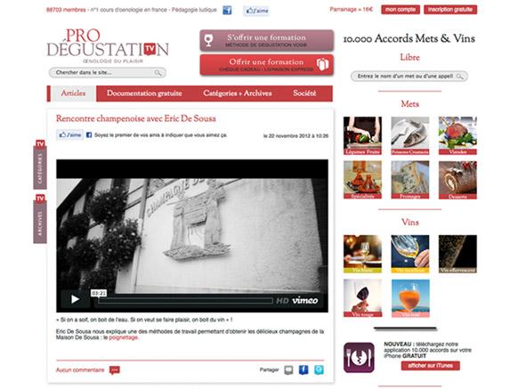 Blog prodegustation.tv avec la nouvelle charte graphique