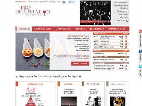 Site prodegustation.com avec la nouvelle charte graphique